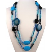 "52"" Turquoise, Blue Agate & Crystals Semi Precious Gemstone Necklace"