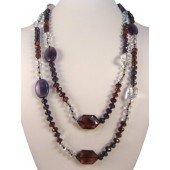 "50"" Amethyst & Crystals Semi Precious Gemstone Necklace"