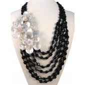 Black Onyx and Shell Flower Semi Precious Gemstone Necklace