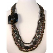 Tiger Eye Jasper Black Onyx Fresh Water Pearls Semi Precious Gemstone Necklace