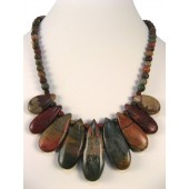 Picasso Jasper Oval Semi Precious Gemstone Necklace
