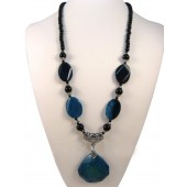 Black & Blue Onyx Semi Precious Gemstone Necklace