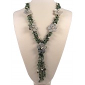 Aventurine Baroque Pearl Shell Flower Semi Precious Gemstone Necklace