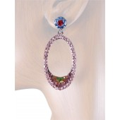 """Elegant Delight"" 2.00"" Austrian Crystal Drop Earrings Multi Color Silver"