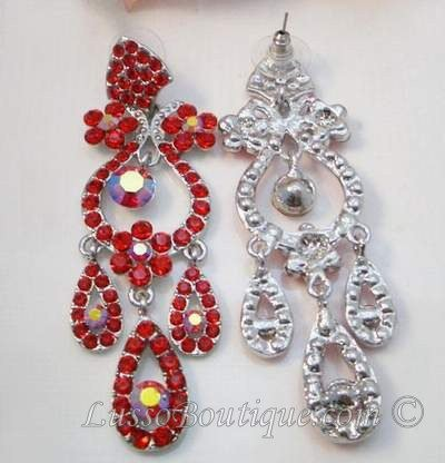 Crystal chandelier earrings drama queen red silver crystal earring more views drama queen 325 inch crystal chandelier earrings red silver aloadofball Image collections